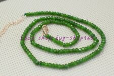 "Roundel Gemstone Necklace 18"" 925 Charming Natural 2x4mm Faceted Green Emerald"