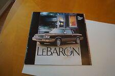 1983 Chrysler LeBaron `84 LeBaron Fifth Avenue E Class + 1982 Auto Brochures VG+