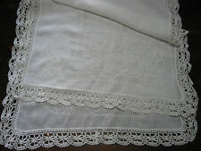 """Antique Table Runner Bobbina Lace Embroidery Needle Work Lotus,32""""x22.5"""" , Rare"""