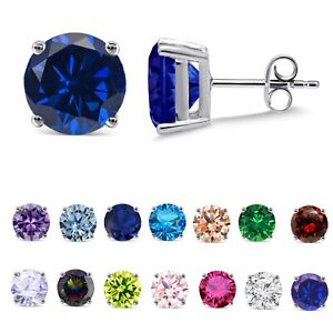 Simulated Blue Sapphire Brilliant Round White Gold Finish Stud Casting Earrings