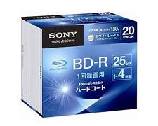 20 Sony Bluray Discs 25GB BD-R 4x Speed Region Free Inkjet Printable Bluray Disc