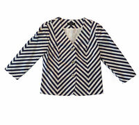 Talbots Blazer Jacket Women's Size 8 Navy Blue and Cream Striped EUC Ships FREE!