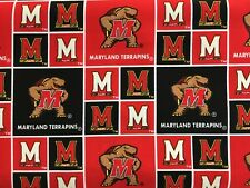 """MARYLAND TERPS NCAA 45"""" COTTON FABRIC BY THE 1/2 YARD Sykel Enterprises AO"""