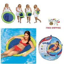 ORIGINAL Swimways SpringFloat Papasan Folding Chair Green-Blue Pool Party Lounge