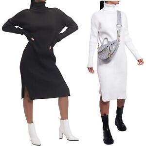 womens side split turtle neck midi jumper dress knitted