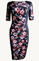 New Ex M&S Ladies Black Orange Floral Knee Length Bodycon Dress Size 12 - 22