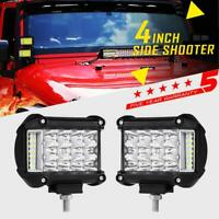 """PAIR Tri-Row 4"""" 95W Side Shooter CREE LED Light Pods Offroad Truck Pickup 3/5/7"""""""
