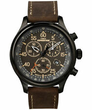 "Timex T49905, Men's ""Expedition"" Leather Indiglo Watch, Chronograph, Date"