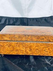 antique Thorens music box Birdseye maple veneer 8 x 4 1/2 x 3 1/4