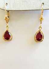 14k Solid Yellow Gold Dangle Lever Back Earrings Natural Ruby Pear 1.70CT 1.55GM