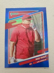Mike Trout 2021 Donruss Baseball Blue Holo IMAGE VARIATION #170 L.A. Angels