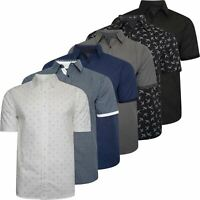 Mens Short Sleeve Shirt 100% Cotton Printed Wedding Designer Summer Casual Top