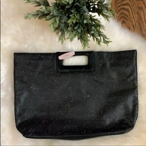 NEW NWT Victoria's Secret Sparkle Dot Large Clutch Tote Bag Handbag Black LARGE