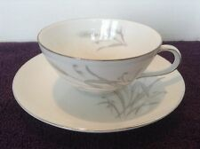 Vintage Sone China SPRING WHEAT Cup & Saucer Set White Silver Gray Japan EC