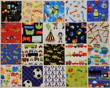 "5"" Cotton Fabric charm squares...CHILDREN'S NOVELTY PRINTS FOR BOYS x 20"