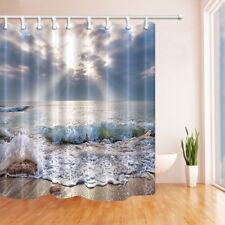 Beach Sea Waves Fabric Bathroom Shower Curtain & 12 Hooks 69*84 Inch Extra Long