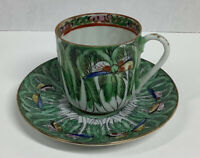 Vintage Made In China Demitasse Cup & Saucer Hand Painted
