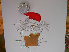 1 Handmade Cat in a Chimney Christmas Card with glitter pom pom