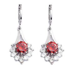 Engagement White Red Round Cubic Zircon White Gold Plated Link Drop Earrings