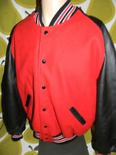 NWOT varsity letterman jacket red wool black leather sleeves mens XL made in USA
