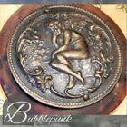 Antique Art Nouveau Cherub Fairy Relief Bronze Button BIG 2 5  Estate Collection
