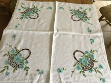 """Vintage hand embroidered linen tablecloth 32"""" Square"""