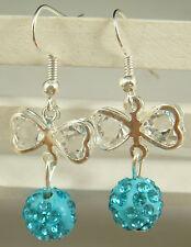 butterfly 925 earrings cz silver pendant earrings Shambhala charm bead q52t6