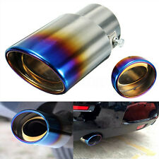 2.5'' Inlet Grilled Blue Car Stainless Steel Exhaust Muffler Tip Pipe Universal