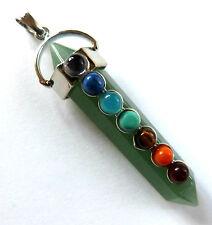 """* Verde Avventurina mini bacchetta magica con pietre chakra & Catena 20"""" -/guarigione Reiki * 2 *"""