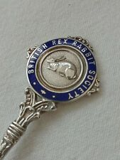 More details for british rex rabbit society silver spoon / medal trophy black & tan giant club uk
