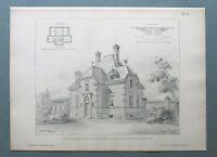 AR85) Architektur Leipzig 1885 Johannis Friedhof Beamten Haus Holzstich 28x39cm