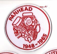 CAFÉ RACER ROCKERS FOREVER TON-UP BOYS IRON-ON white PATCH: PANHEAD V2 ENGINE