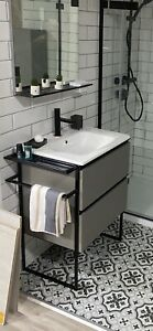 Structure 2-Drawer Vanity Unit with Basin 600mm Grey Ash & Basin Tap Ex Display
