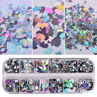 12 Grids Nail Glitter Sequins Holographic Laser Flakes Nail Art 3D Decoration