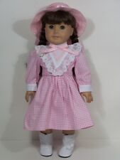 "Victorian PINK Gingham Dress & Hat Doll Clothes For 18"" American Girl (Debs)"