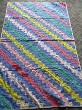 Vintage Handmade Quilt,  Patchwork  Diagonal Design 44 x 69