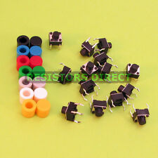 14pcs 6x6x6 Tactile Tact Switch & 7 Color Button Caps Momentary U95