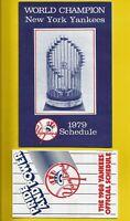 1979 New York Yankees '78 World Champions Vintage Baseball LOT set schedule card