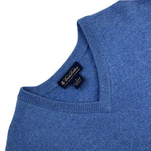 Mens M Brooks Brothers Light Blue 100 % Italian Cashmere 3 Ply V Neck Sweater