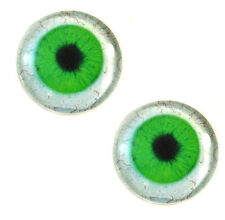 Pair of 30mm Green Human Glass Eyes for Jewelry Pendant or Taxidermy Doll Crafts
