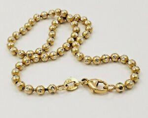 "14KT  Yellow Gold Diamond Cut Balls Chain Ankle Bracelet 9.8"" long"