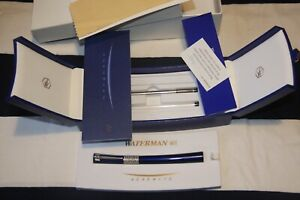 WATERMAN Serenite Metallic Lacquered Midnight Blue & 925 Silver Rollerball Pen