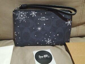 Coach Zip Wristlet Canvas Snowflake Midnight C1862 w/Box, Sticker,Tissue NWT