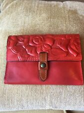 Patricia Nash Italian Leather Embossed Clutch Wallet Red