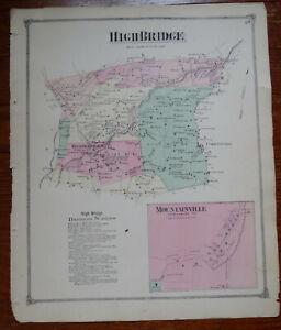 1873 MAP of HIGH BRIDGE - HUNTERDON CO NJ - FW BEERS