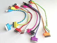 "8"" fabric Braided USB Data Sync Cable Charger FOR apple iphone 4S ipod nano 6"