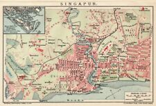 Singapore, Singapour, City Map,, original lithography from 1912