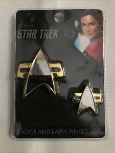 Star Trek:Voyager Communicator Badge and Pin Set by Quantum Mechanix Brand New