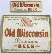 New listing Vintage Old Wisconsin Premium Beer Label Perplies Brewing Jefferson Wisconsin