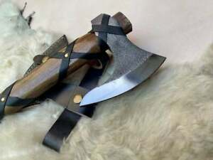 Forged Carbon Steel Viking Axe with Rose Wood Shaft, Viking Bearded Camping Axe
